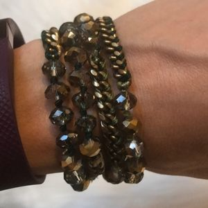 Chloe and Isabel crystal and silk wrap bracelet